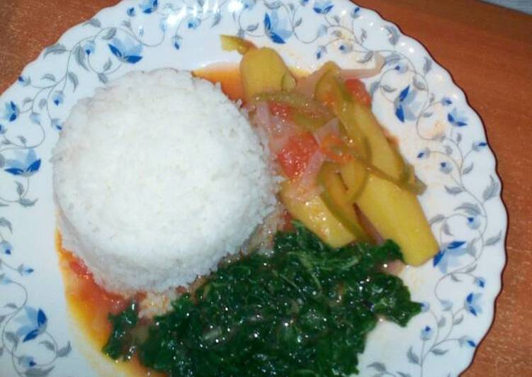Simple Way to Make Ultimate Matoke with rice and Spinach