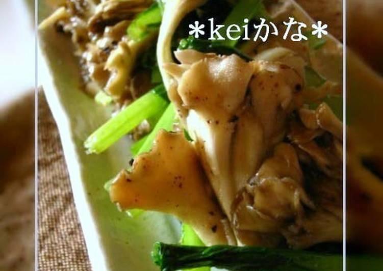 30 Minute Recipe of Refreshing Easy Komatsuna and Maitake Garlic Stir-fry