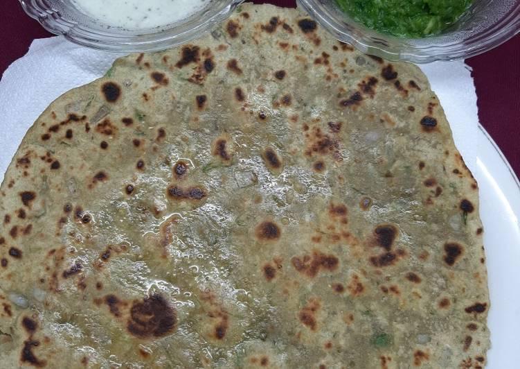 Green garlic paratha