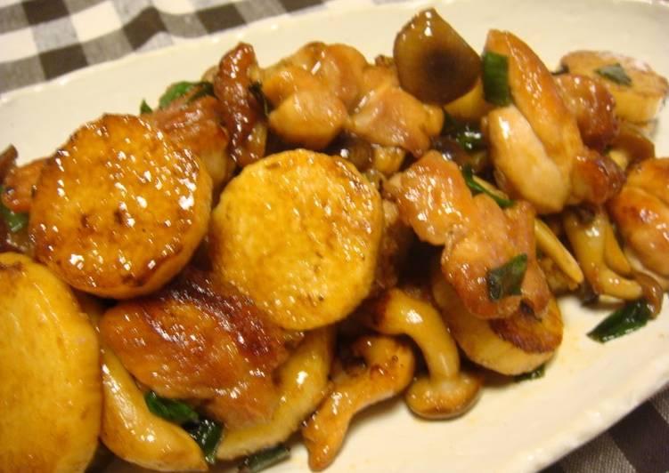 sweet and savory chicken and nagaimo yam stir fry recipe