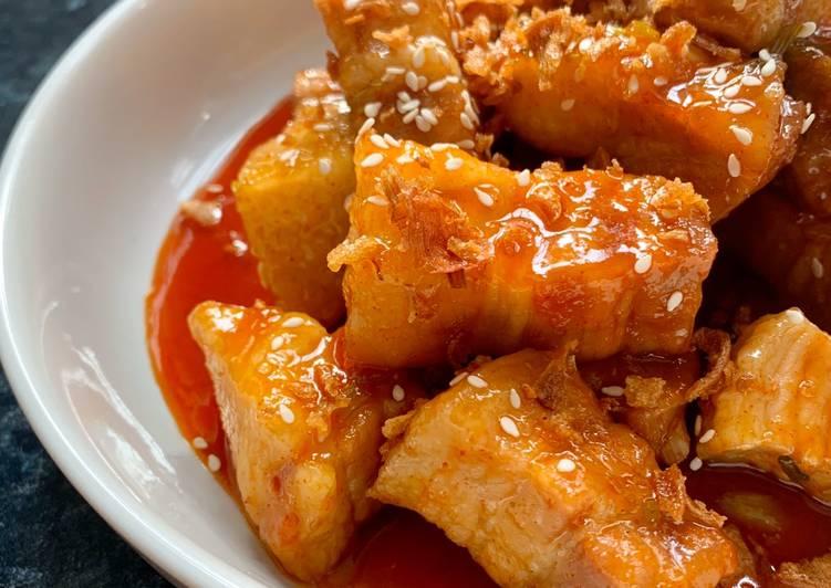 Slow cooked sticky gochujang pork belly