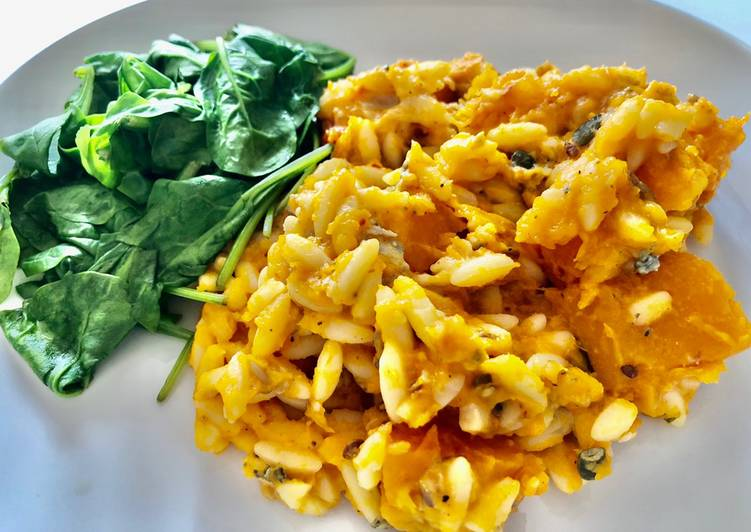 Roasted Butternut Squash, chilli and Stilton Orzotto with toasted Pine-nuts