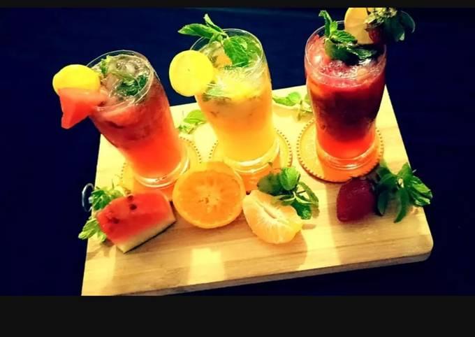 Orange Mojito, Watermelon Mojito and Strawberry Mojito