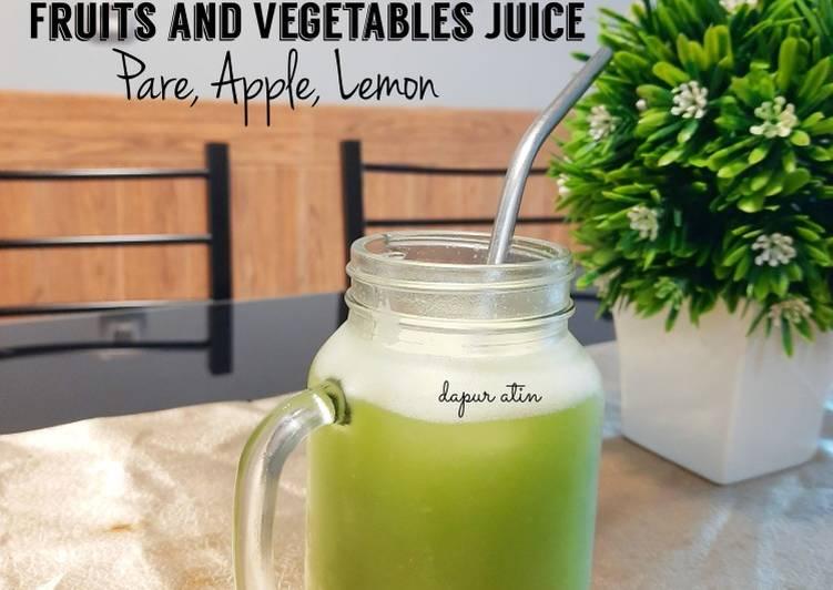 Jus Buah dan Sayur (Pare, Timun, Apel, dan Lemon)