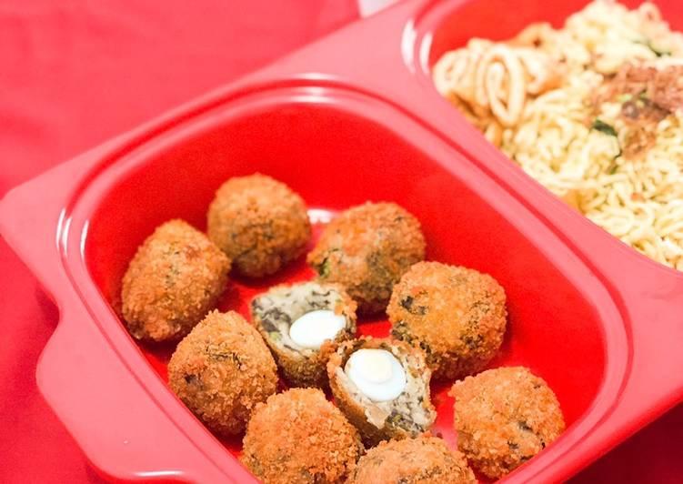 Resep Perkedel kentang, oatmeal & rumput laut dengan isi telur puyuh Paling Top