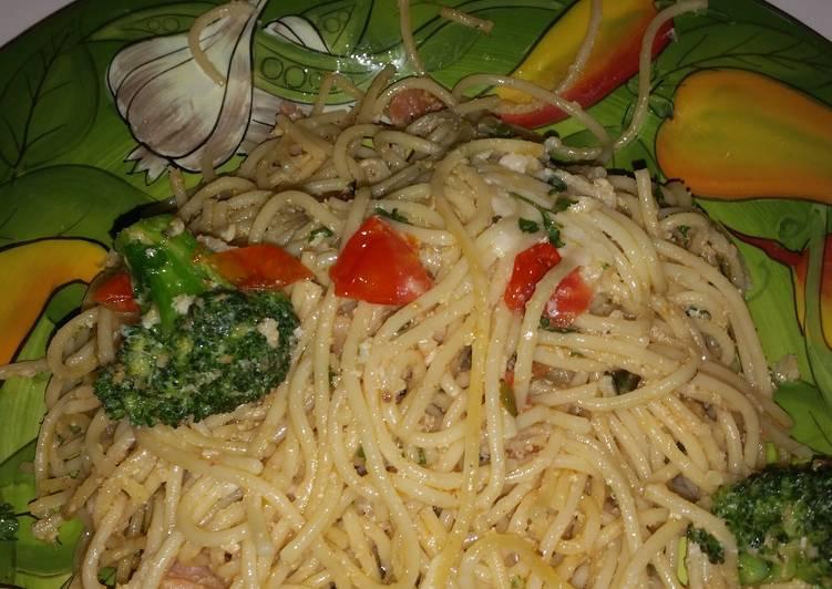 Spaghetti carbonara caprese