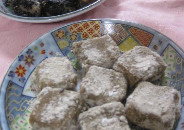 Recipe of Super Quick Homemade Okara Mochi with Roasted Barley or Kinako Flour