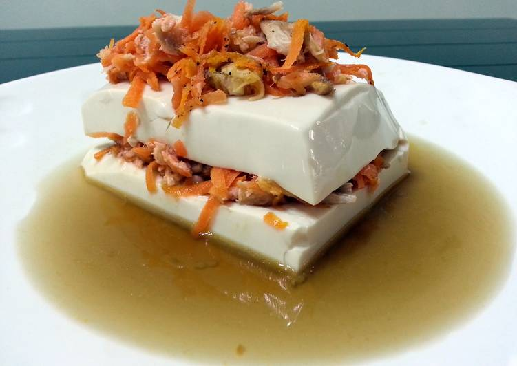 Tofu With Salmon And Carrot In Chicken Broth