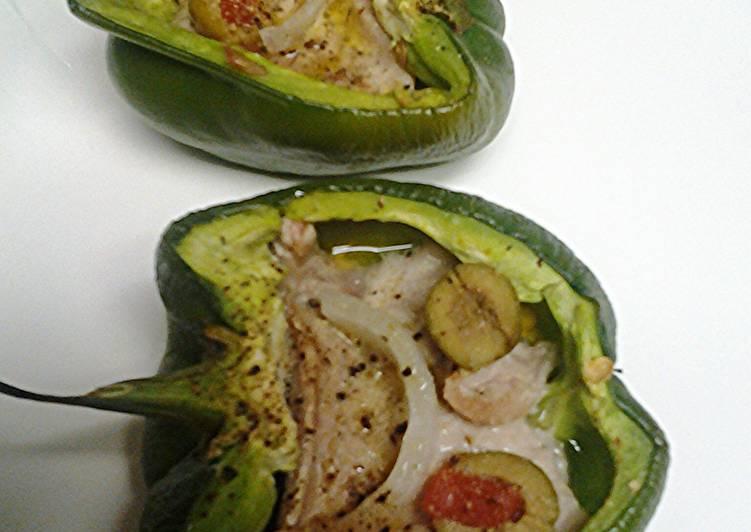 Tuna steak stuffed peppers