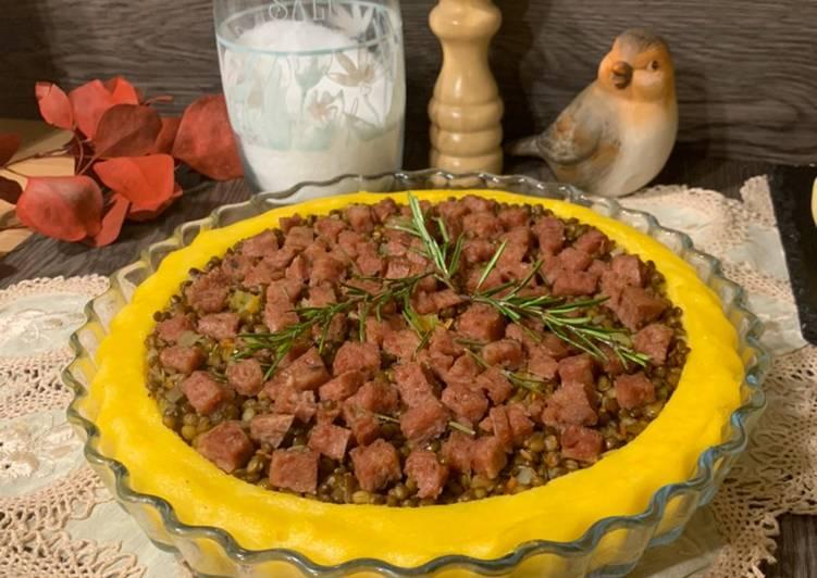 Polenta Cake with Lentils and Cotechino