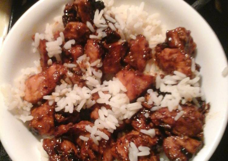 Sweet chicken with rice.