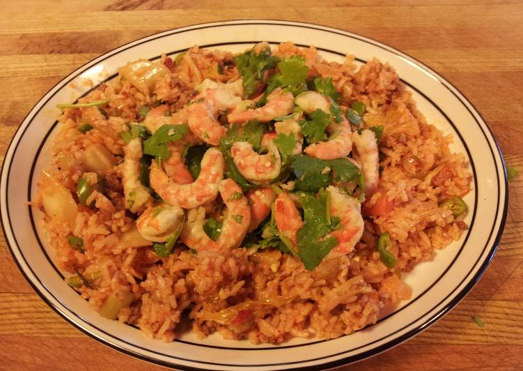 Kimchi Fried Rice with Dancing Shrimp