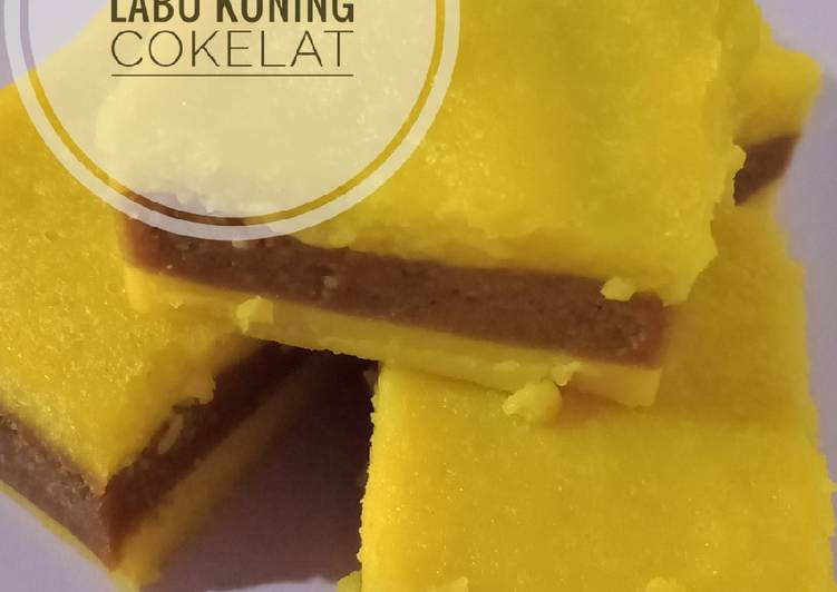 Cake / Bolu Kukus Lapis Labu Kuning Cokelat