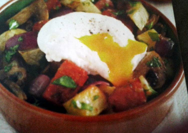 Recipe: Perfect Chorizo Hash with Poached Eggs