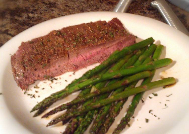 Recipe of Homemade Chipotle Flank Steak w Teriyaki Asparagus