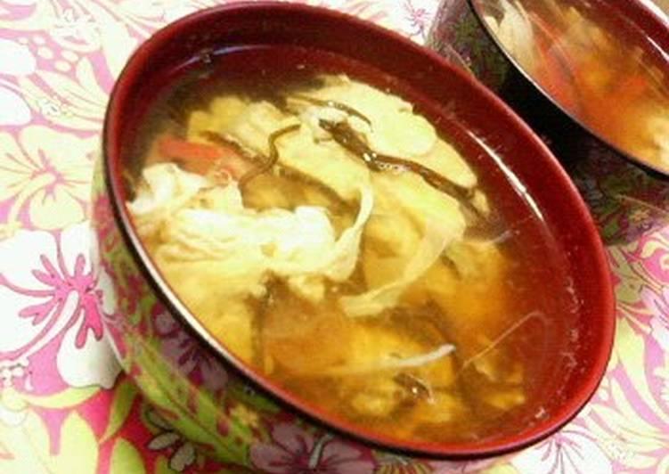 Piping Hot Egg Drop Soup With Shio-Kombu
