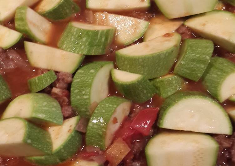 Zucchini stew with minced meat