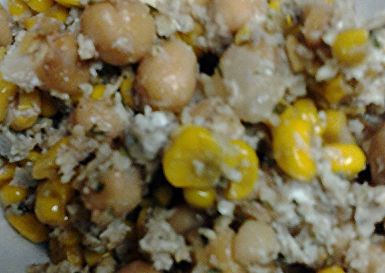 Corn egg parmesaen cheese with chick peas