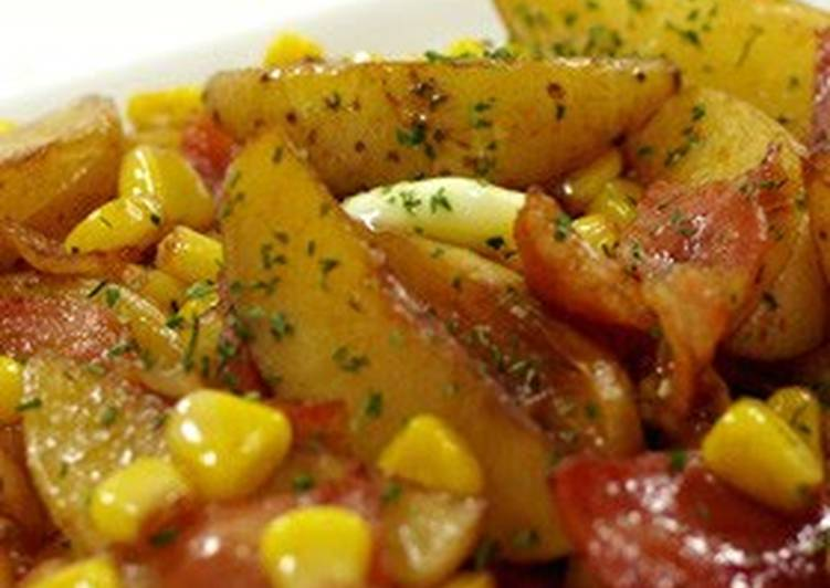 New Potatoes, Bacon, and Corn Sautéed with Butter & Soy Sauce