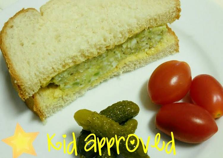 Recipe: Delicious Easy avocado egg salad sandwich: kid approved!