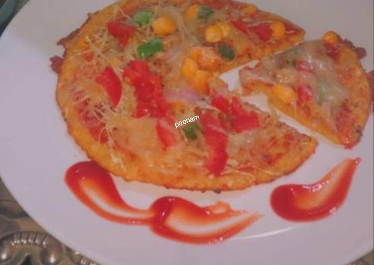 25 Minute Steps to Make Quick Moong dal pizza