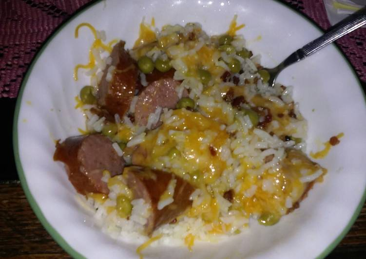Rice and kielbasa meal