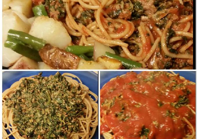 Healthy Meat&Spinach Spaghetti