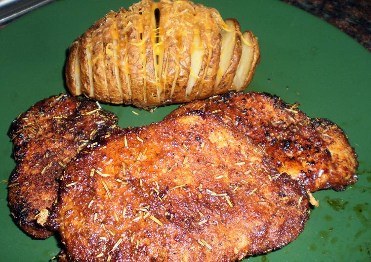 Rosemary fan potato and pork chop