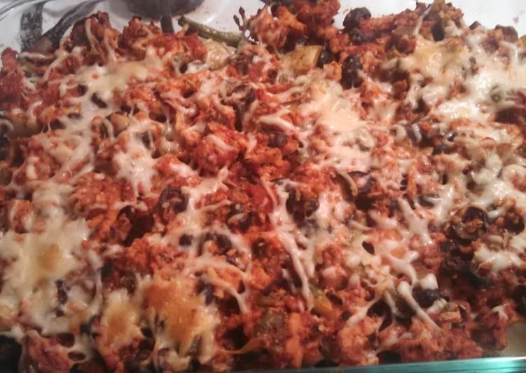 Steps to Prepare Super Quick Homemade Ground Turkey Italian Veggie Bake with Baby Yellow Potatoes Or Cauliflower