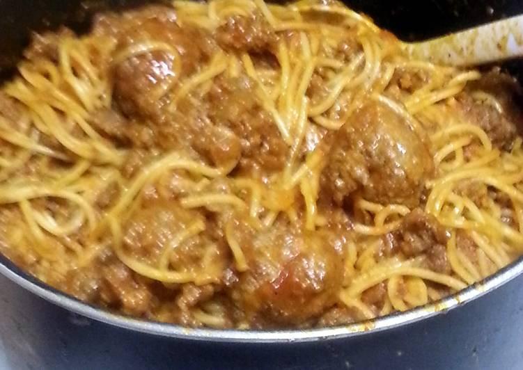 Bbq meatball spaghetti
