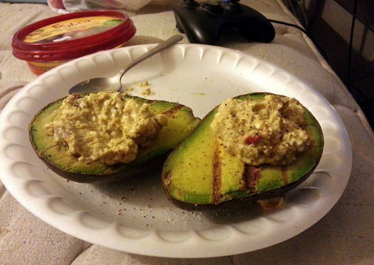 Grilled Avocado with Spinach Feta Hummus