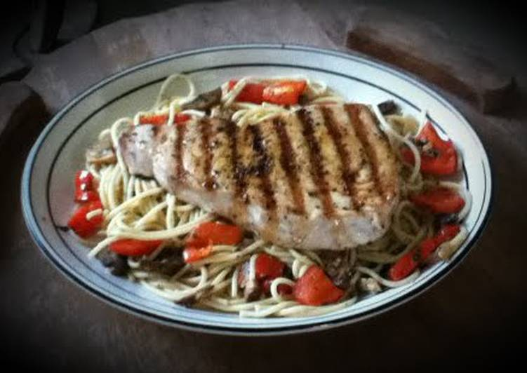 Blue Marlin over Mushroom and Pepper Pasta