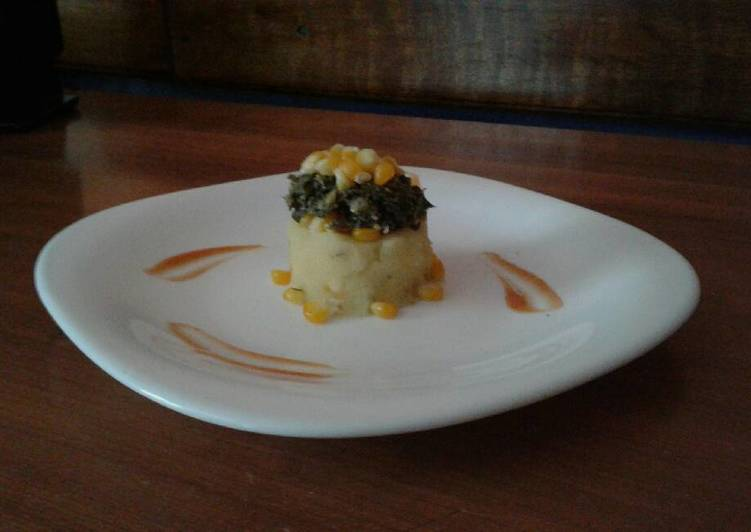 Mashed Potatoes Topped with Sautee Spinach(Sweet corns)