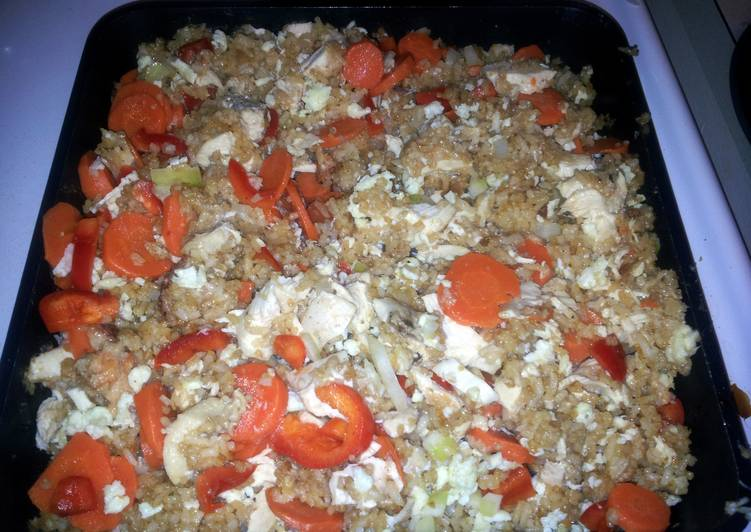 Chicken Fried Rice using leftovers