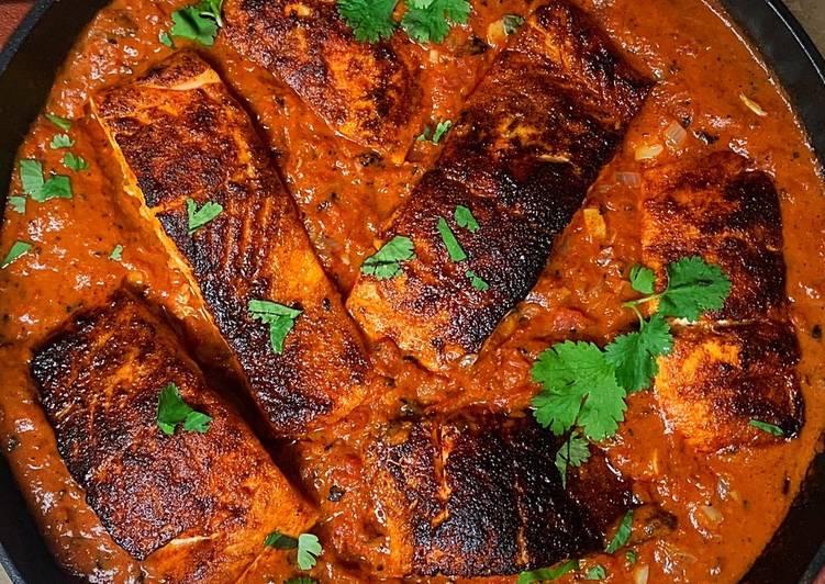 Blackened Cajun Salmon in Creamy Fire Roasted Tomato Coconut Sauce