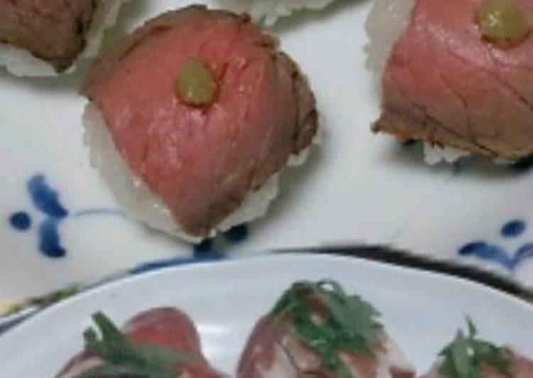 Roast Beef and Cured Ham Temari Sushi