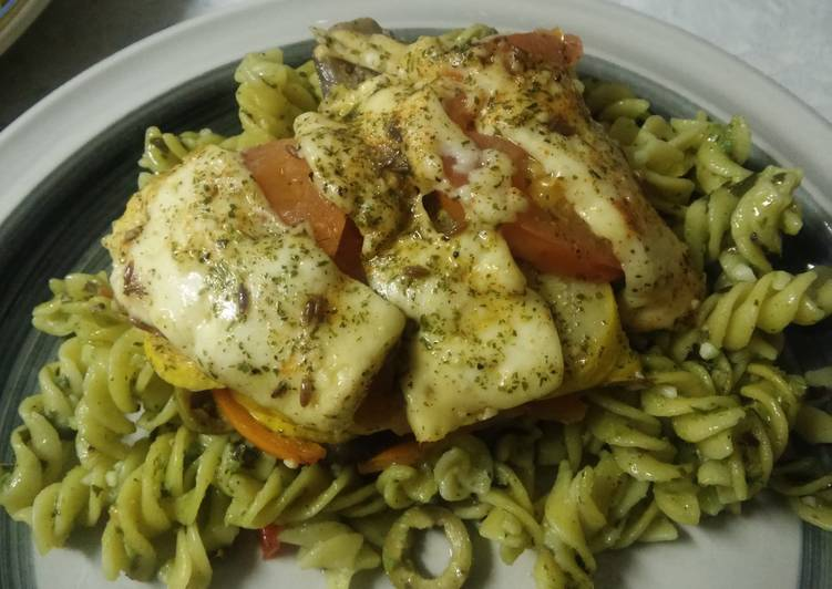 Recipe of Perfect Pista Pesto Pasta with baked Veg & Halloumi