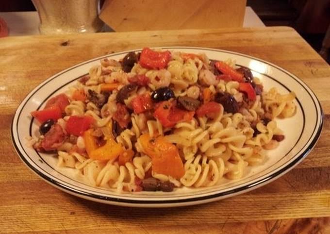 Shrimp Pasta a la Carbonara with Peppers and Mushrooms