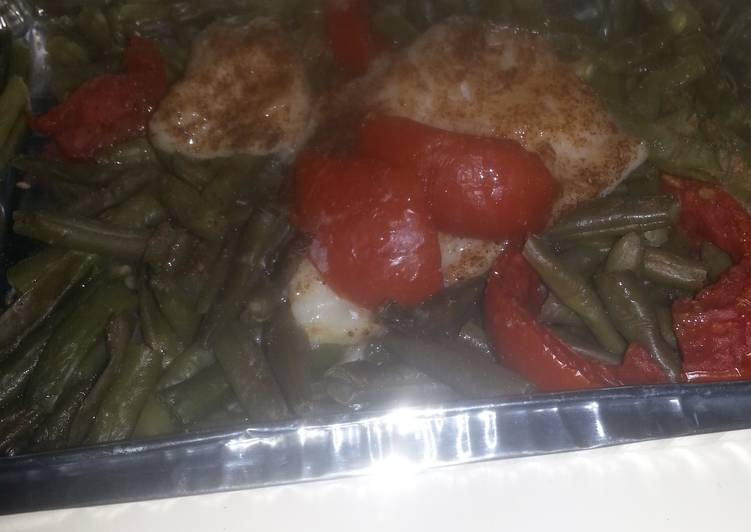 HCG diet meal 7 & 9: fish fillet with string beans