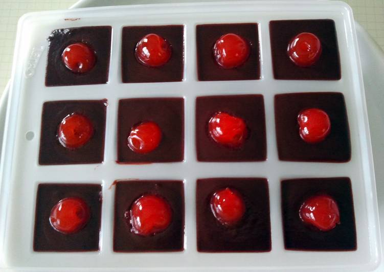 Chocolate cherry dessert shots
