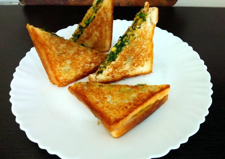 Recipe of Homemade Turnip paneer and spanich sandwich