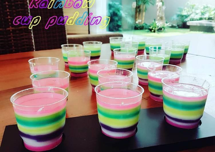 Rainbow cup pudding
