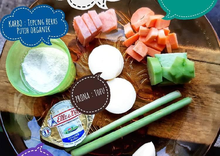 9 Resep: MPASI 4☆ Ryuzaki 6+mo Bubur Salmon Tofu 🥕 Kekinian