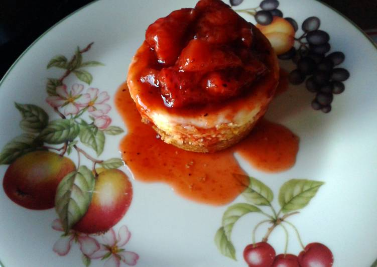 Vanilla Cheesecakes with Roasted Strawberry Sauce