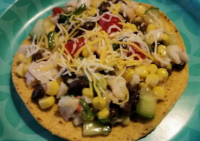 Quick and easy seafood tostadas.