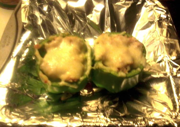 Roasted Green Peppers with Tuna & Brown Rice