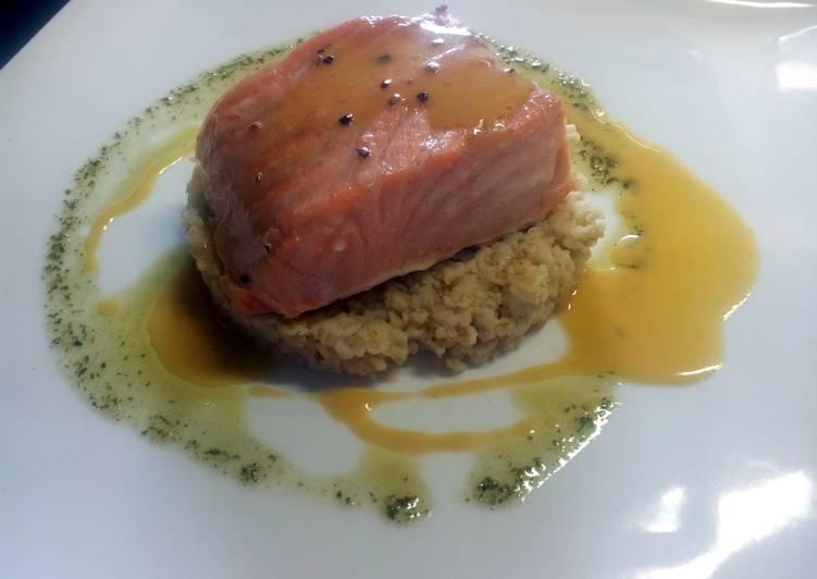 Steamed salmon, orange juice reduction, simple herbs sauce.
