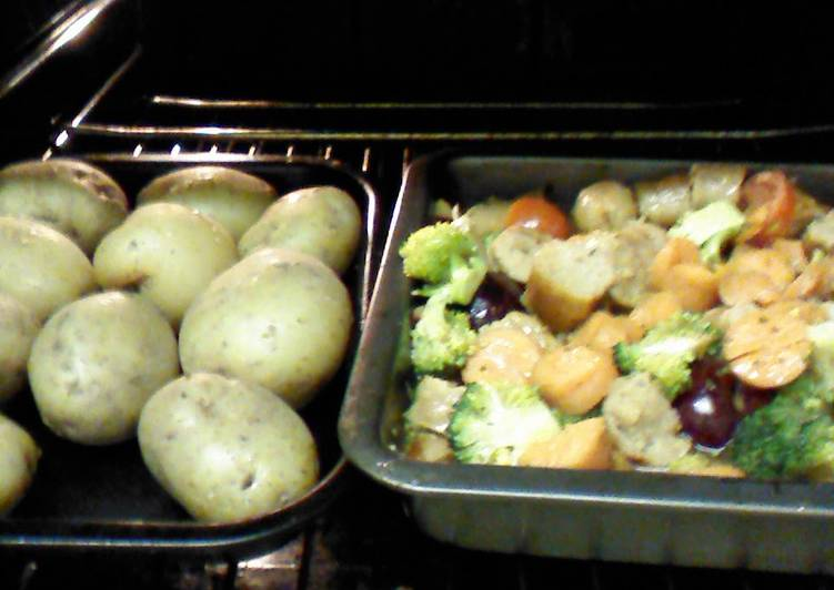 Cheaters guide to Garlic'd sausage casserole in a plum sauce with mini jackets and seasonal veg.