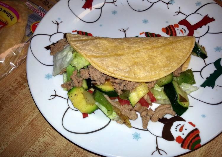 Steps to Make Homemade zucchini turkey tacos