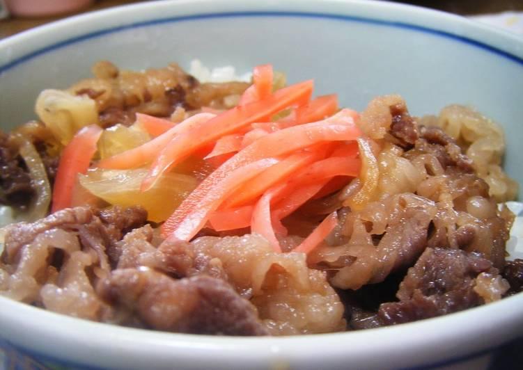 Homemade Yoshinoya-Style Gyudon (Beef Rice Bowl)